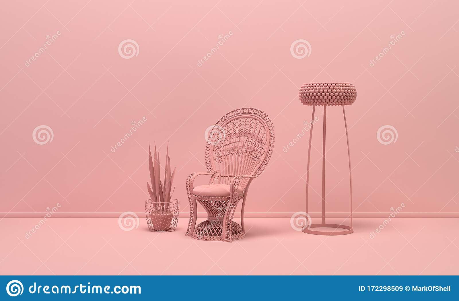 Interior Of The Room In Plain Monochrome Light Pink Color With Single Victorian Chair Floor Lamp And Decorative Vase And Plant Stock Illustration Illustration Of Lamp Floor 172298509