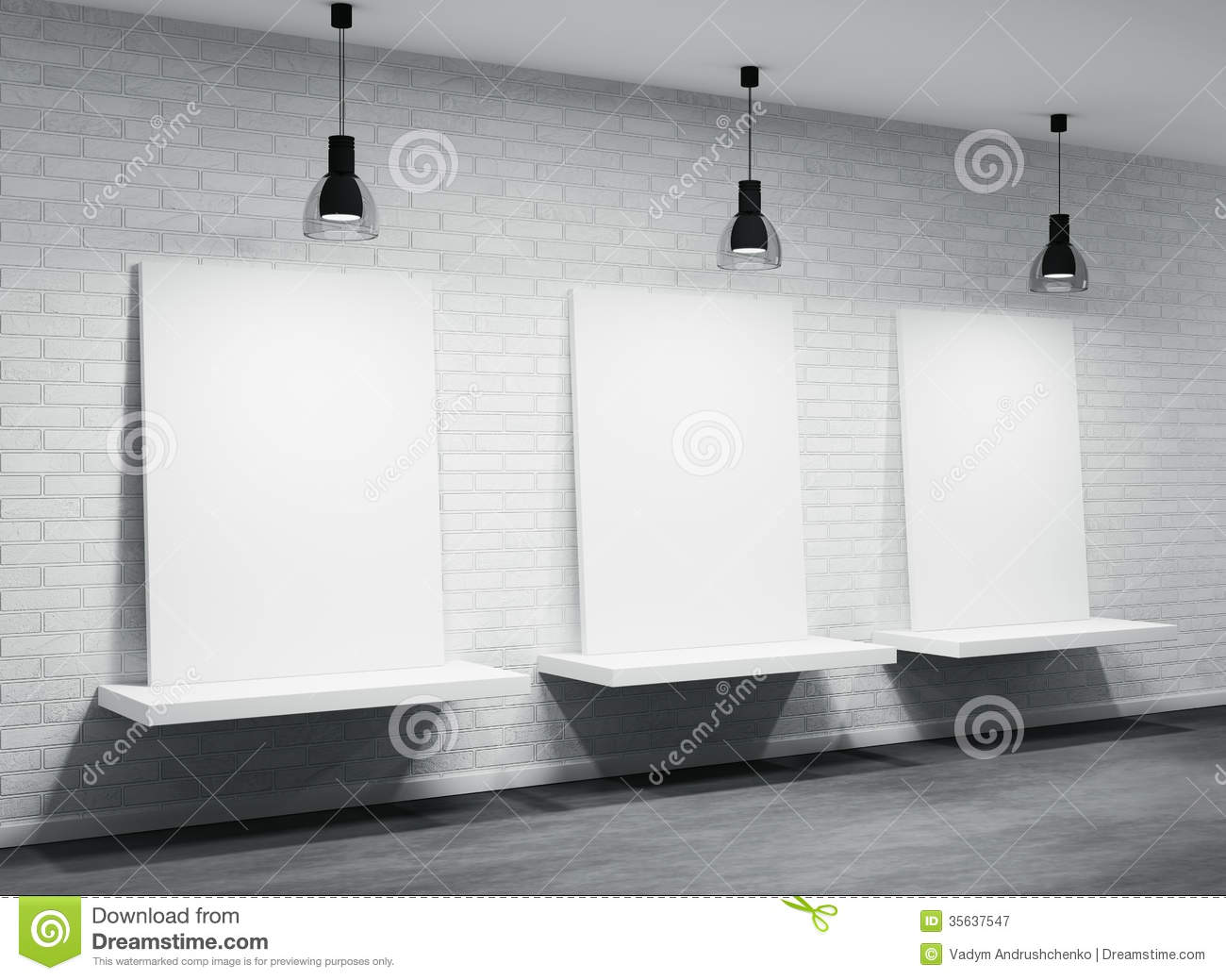 Interior Of A Room With Three Posters Royalty Free Stock Photography