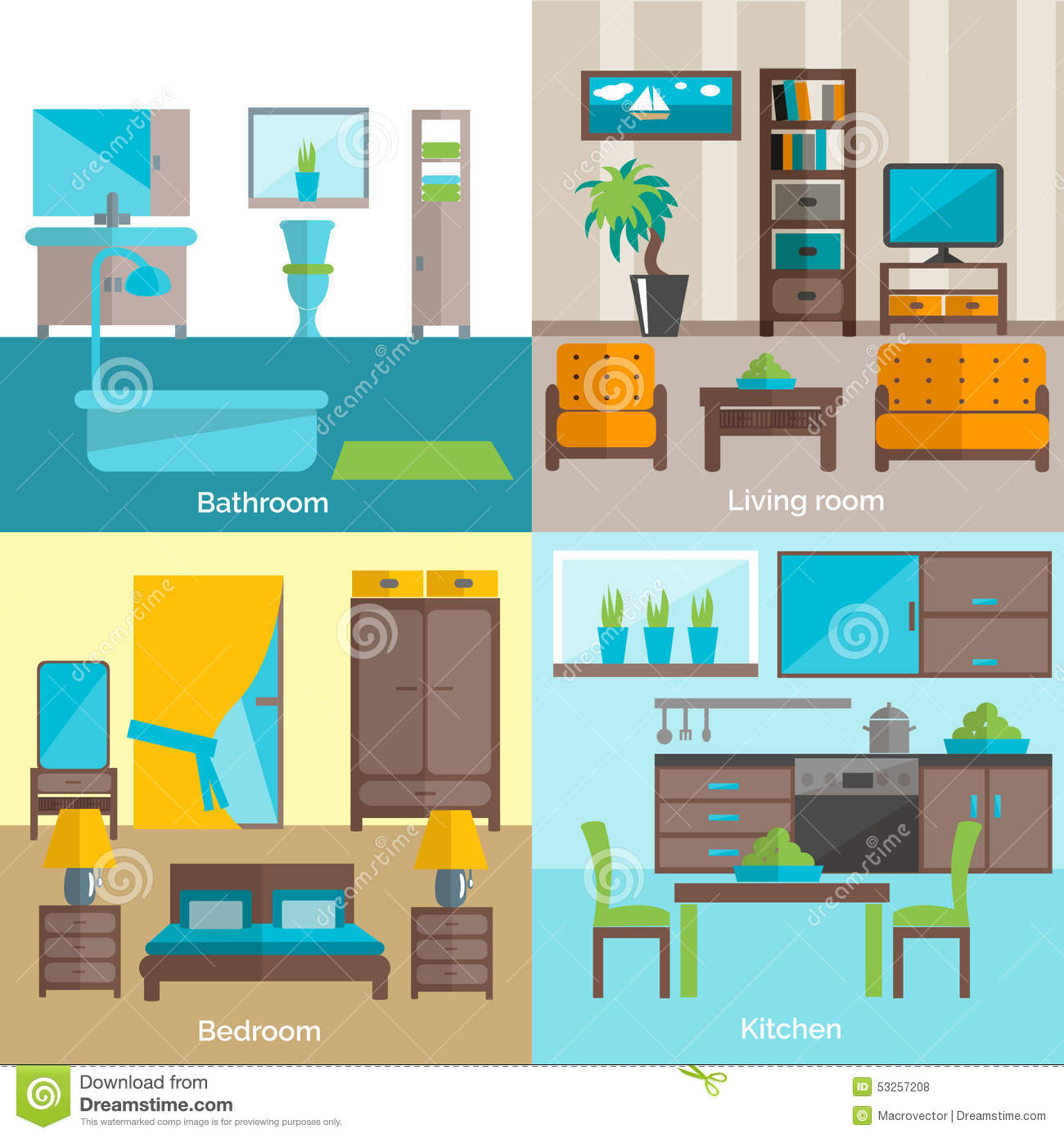Interior rooms furnishing 4 flat icons stock vector for 15x15 living room