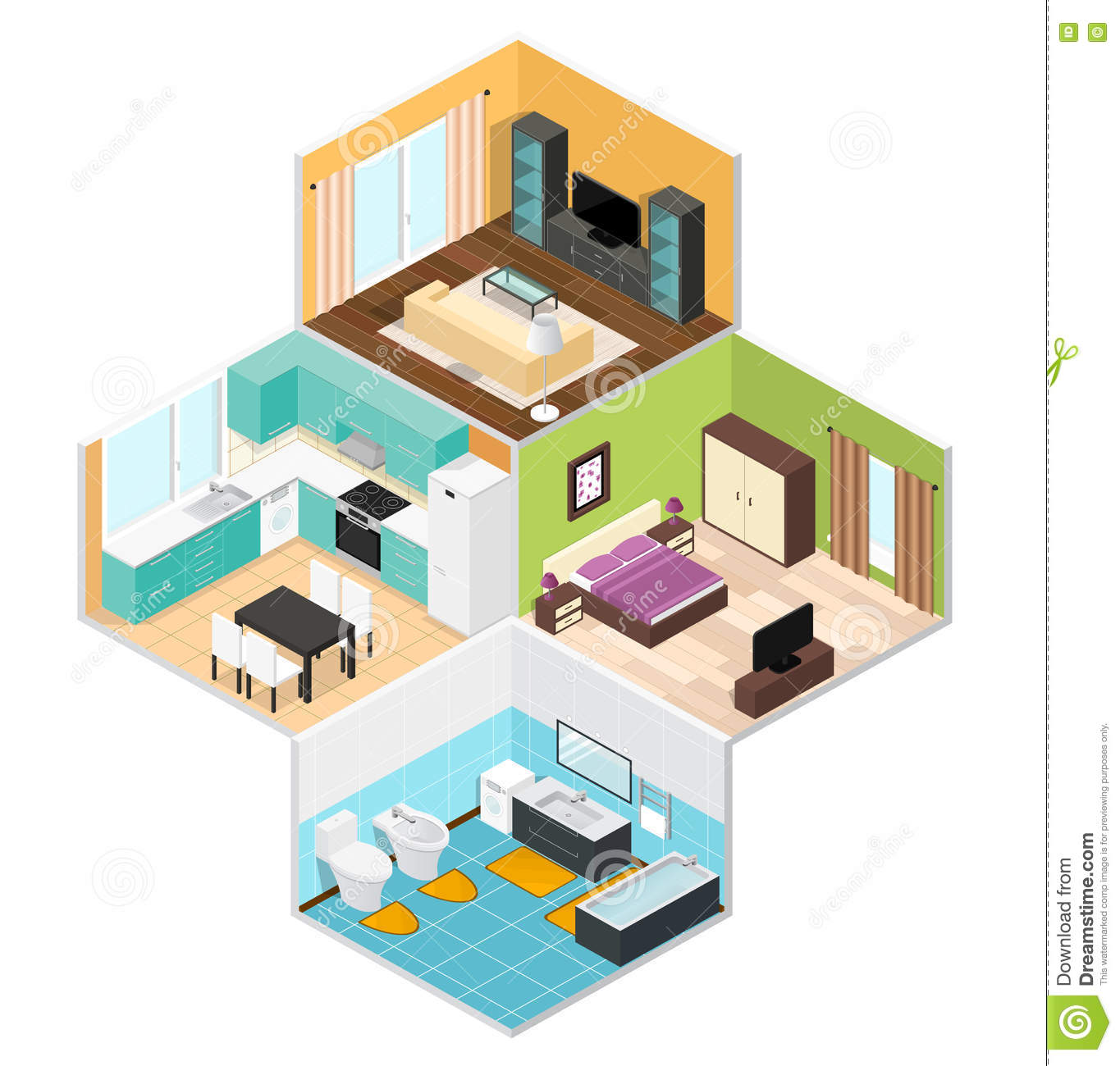 Interior Of The Rooms Inside The House Cartoon Vector