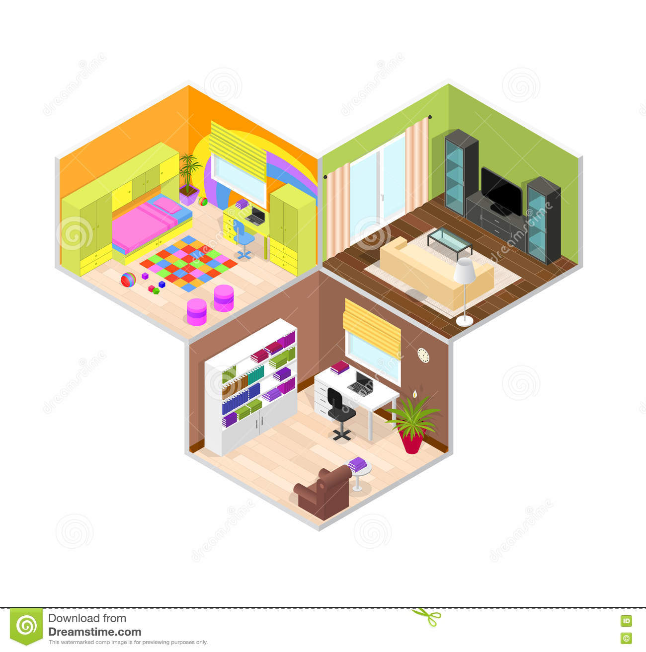 interior rooms of the house  isometric view  vector stock