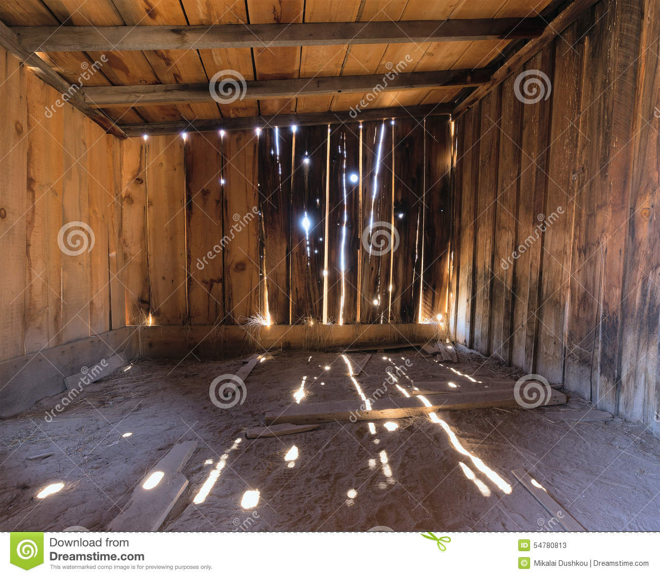 Interior Of A Rustic Old Wooden Barn Stock Photo Image