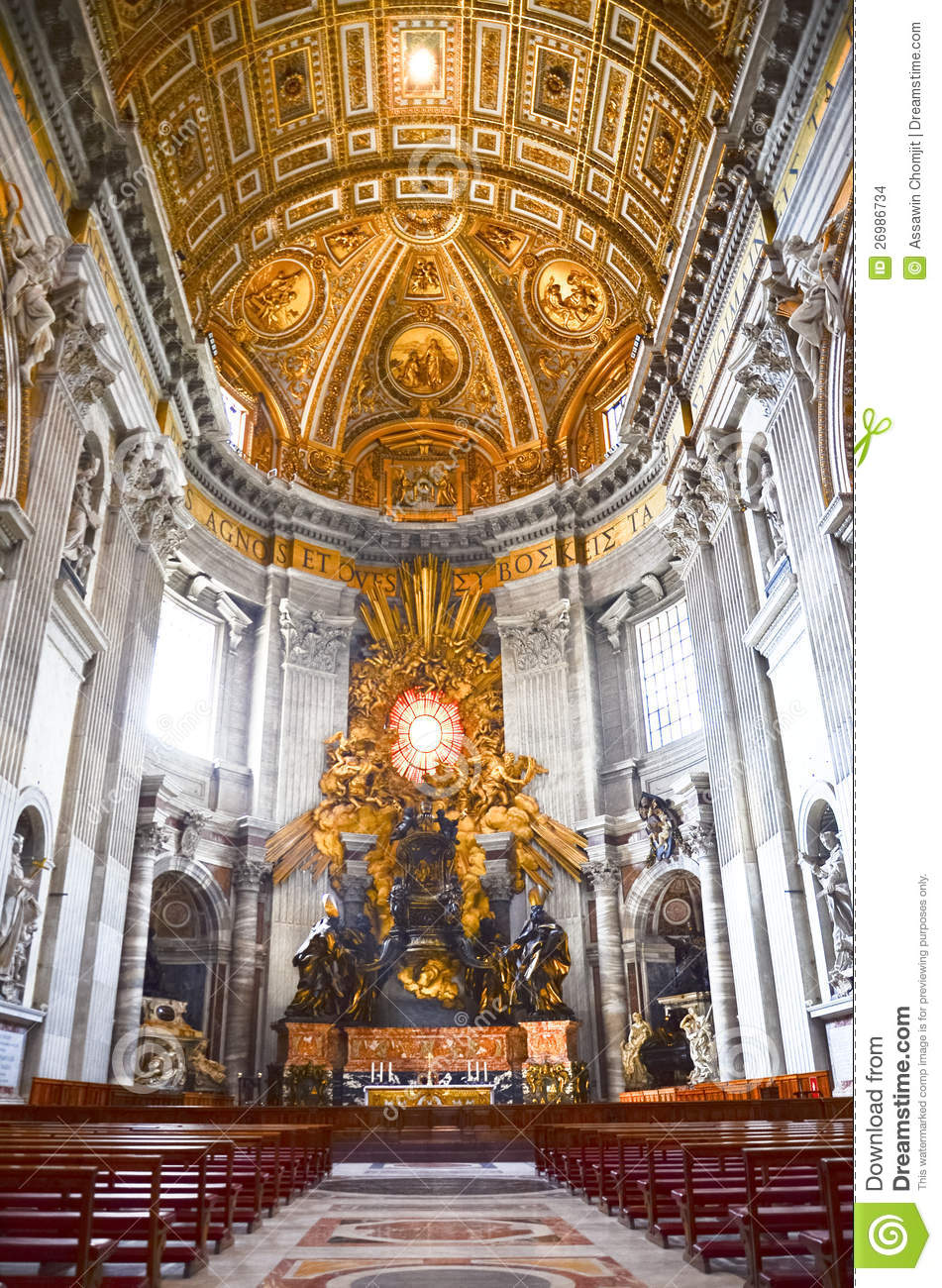 Interior Of The Saint Peter Cathedral In Vatican Editorial