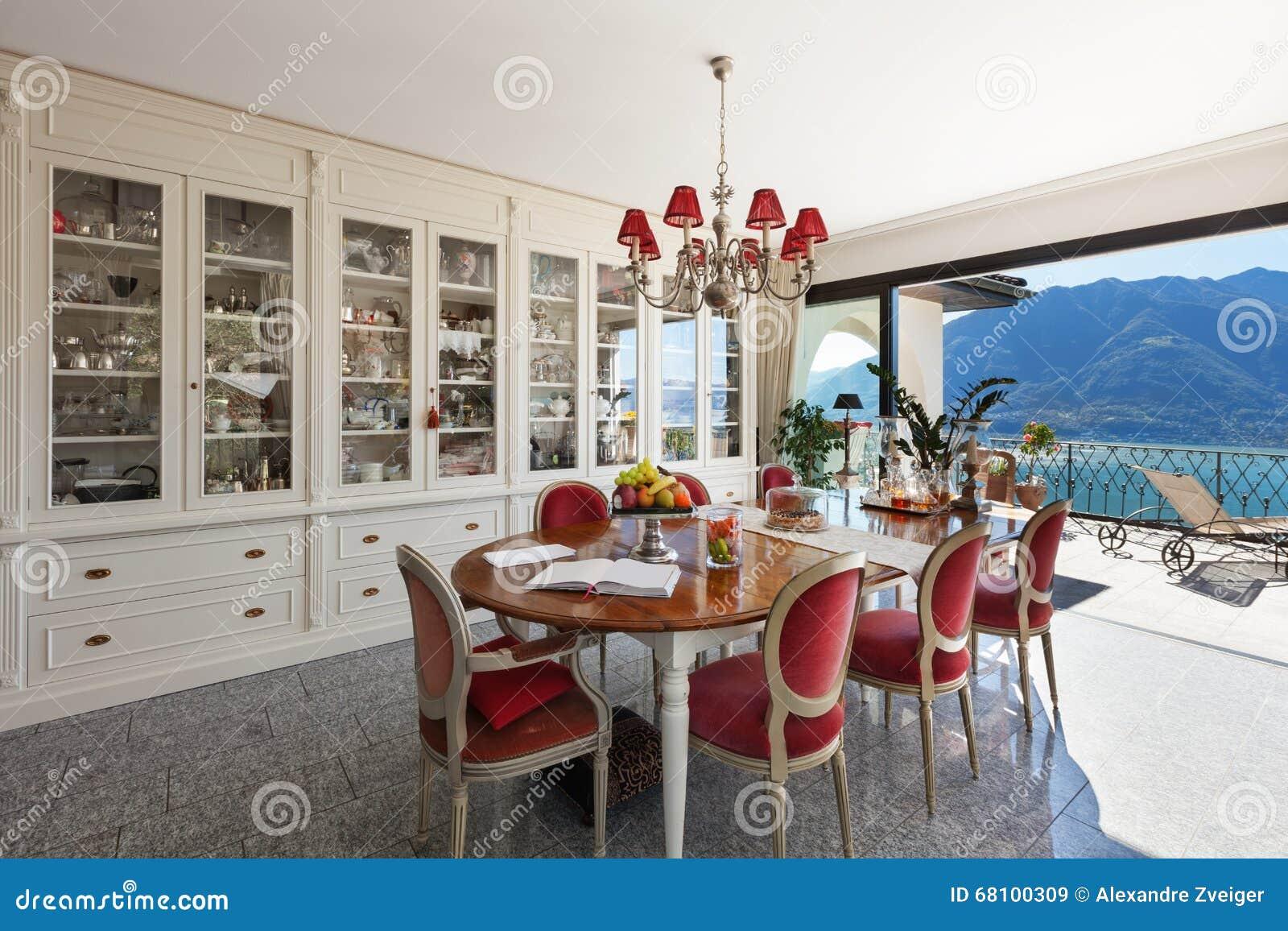 Interior Sala De Jantar Com Decora O Cl Ssica Imagem De Stock  -> Decoracao Sala De Jantar Azul