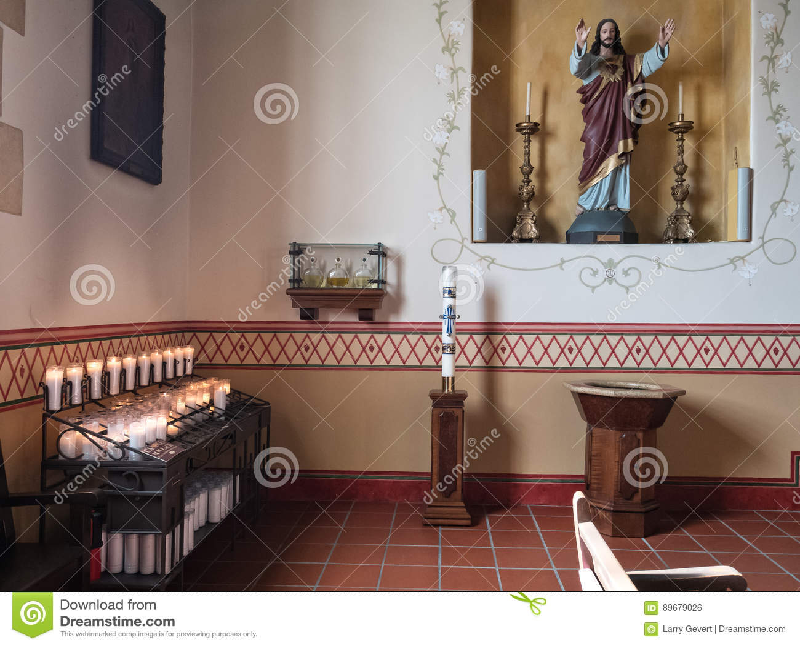 interior san carlos cathedral monterey california stock photo