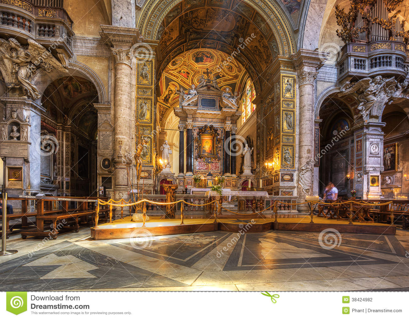 Interior of santa maria del popolo church stock photography image