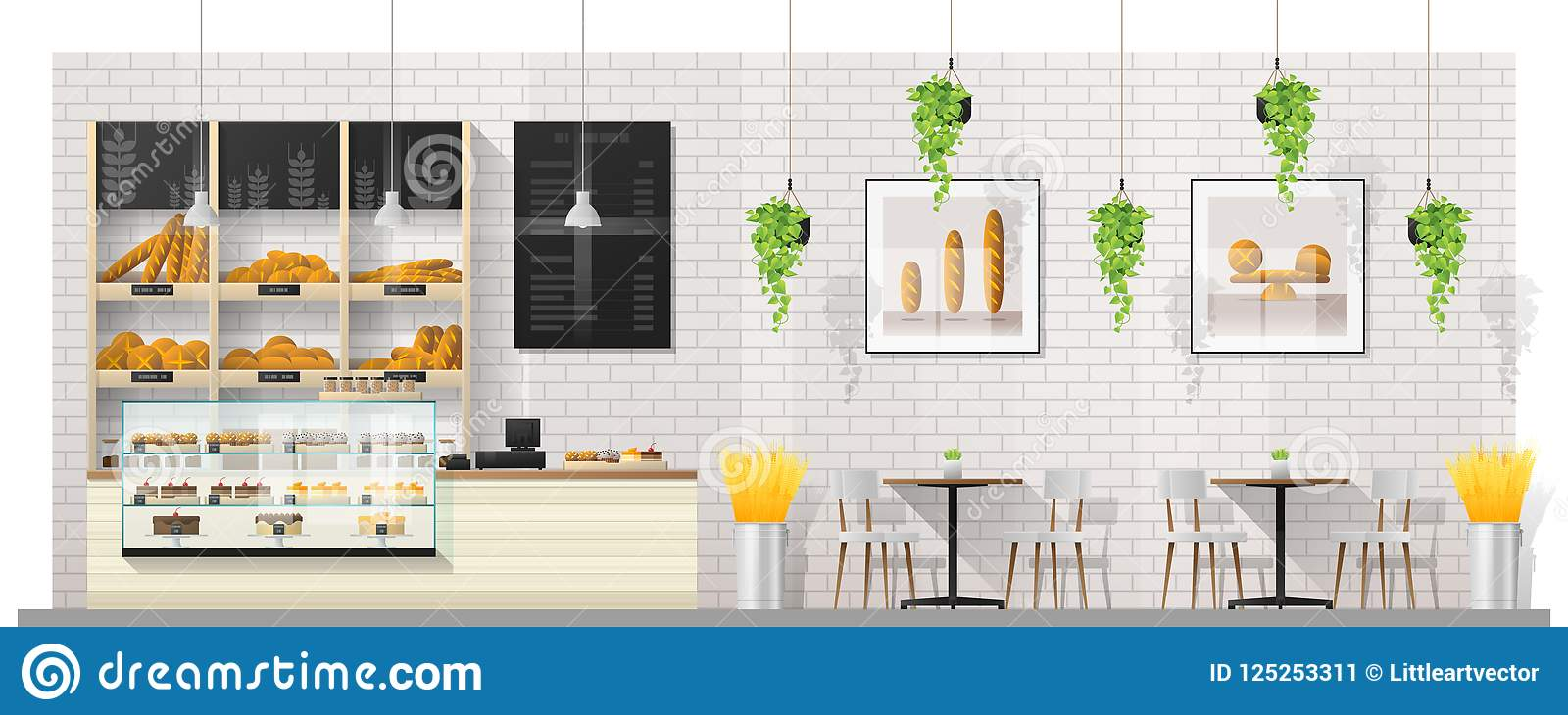 Interior scene of modern bakery shop with display counter , tables and chairs