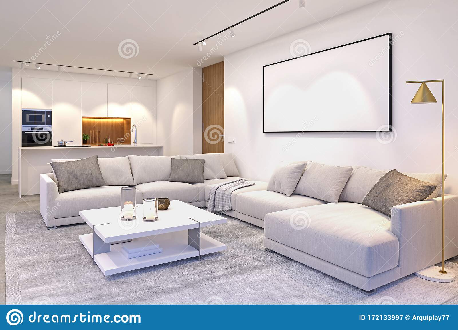 Interior Scene Of Modern House Space Integrating Living Room And Kitchen In Grey And White Colours Showing Big Couch Table Rug Stock Illustration Illustration Of Kitchen Lifestyle 172133997