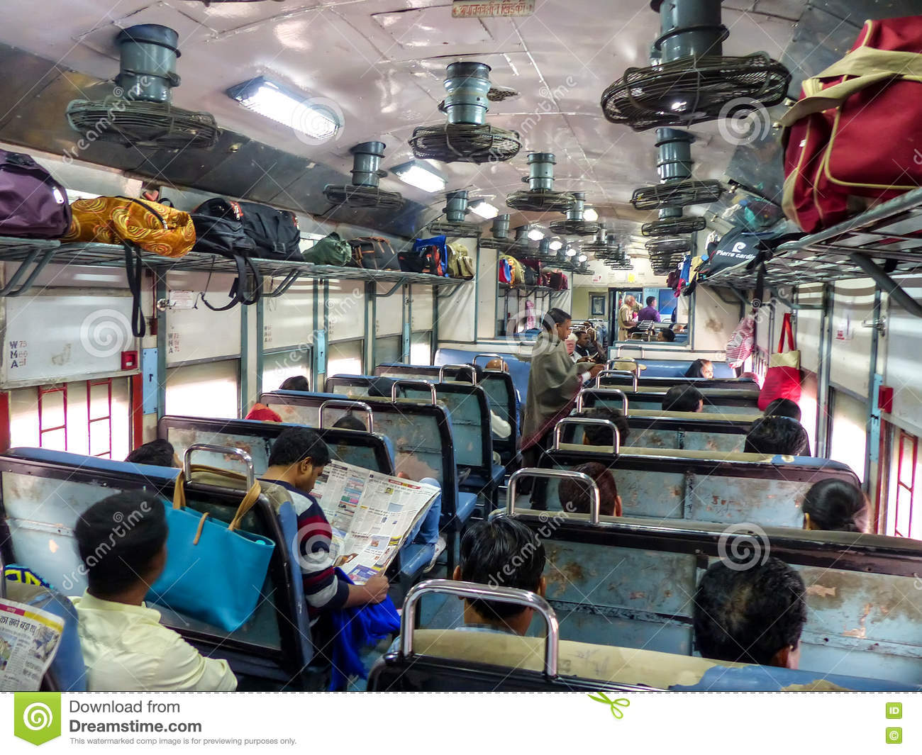 interior of second class train car in rajasthan india editorial photography image of person. Black Bedroom Furniture Sets. Home Design Ideas