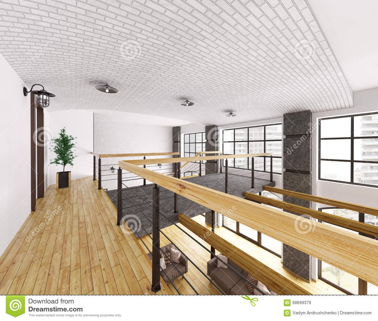 Interior of second floor of loft house 3d render stock for Loft in house
