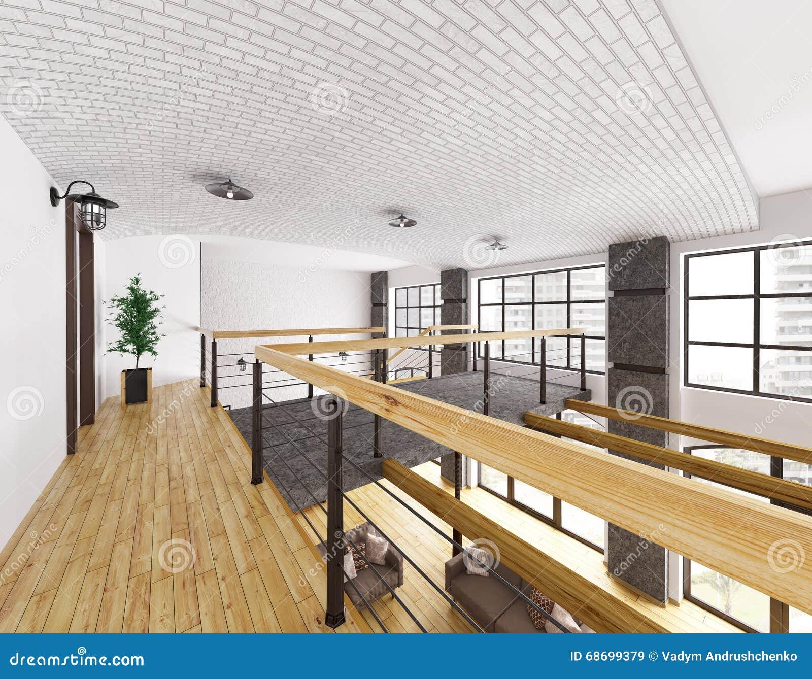 Interior Of Second Floor Of Loft House 3d Render Stock