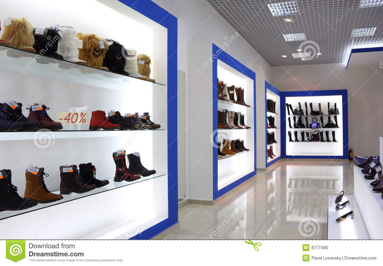 Interior of shoe shop stock image image of buying prosperity 8777485 for Interior design for shoes shop