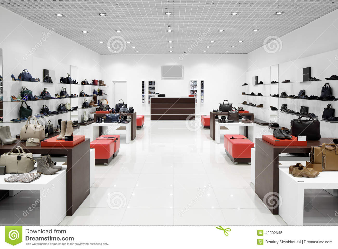 Interior Of Shoe Store In Modern European Mall Stock Image Image Of Atmosphere Clothes 40302645