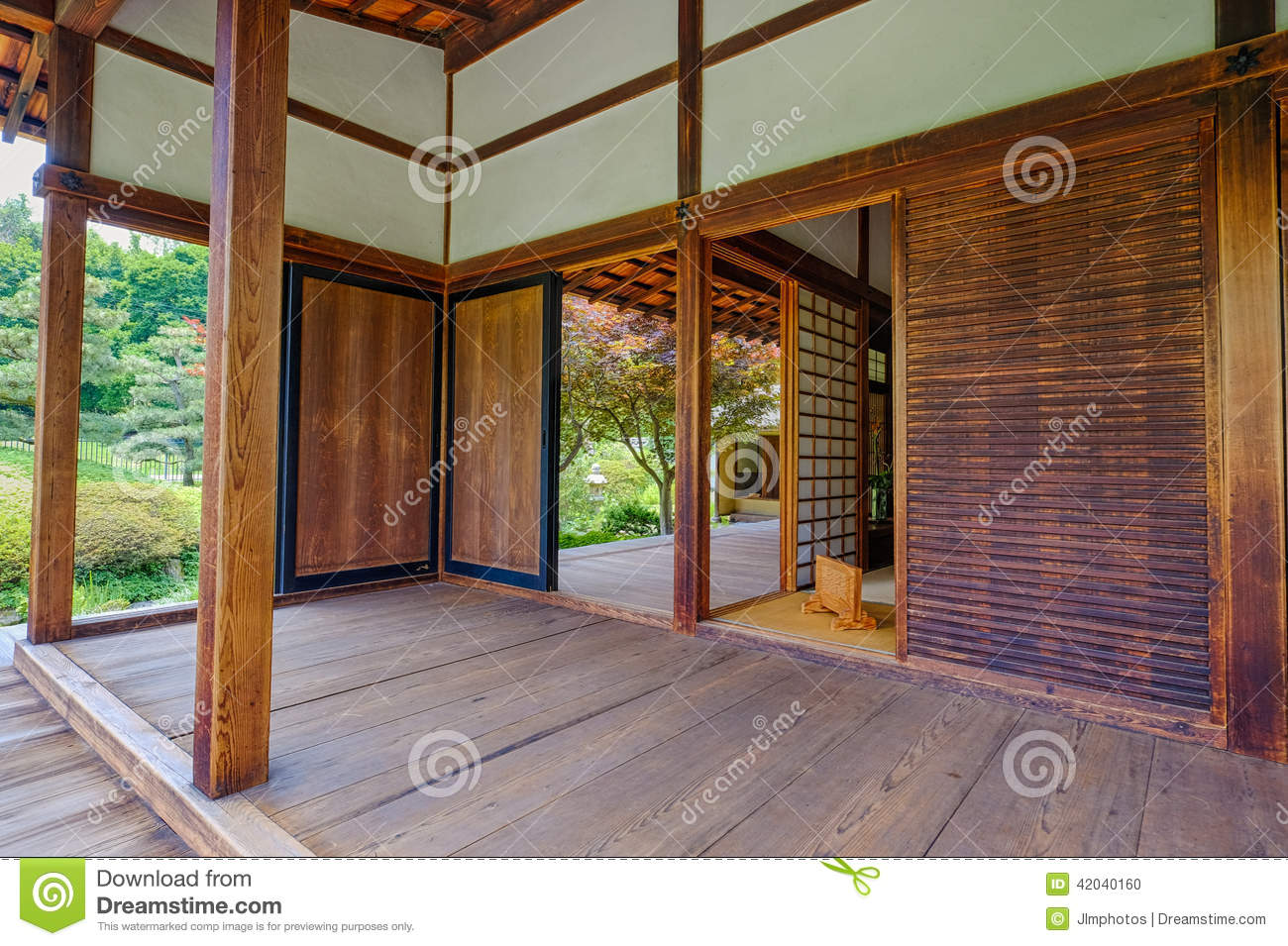 Japanese tea house interior - Interior Of The Shofuso Japanese Tea House Stock Photo