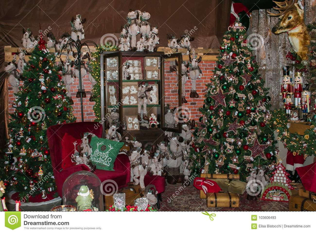 interior of shop in arezzo with big christmas tree and decorations