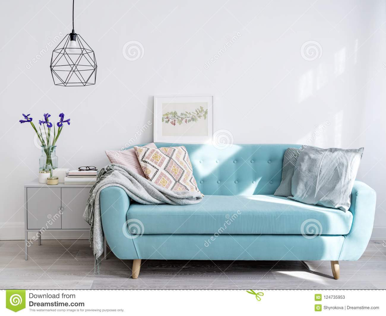 Awesome Bright Blue Sofa In Stylish Home Interior Stock Image Theyellowbook Wood Chair Design Ideas Theyellowbookinfo