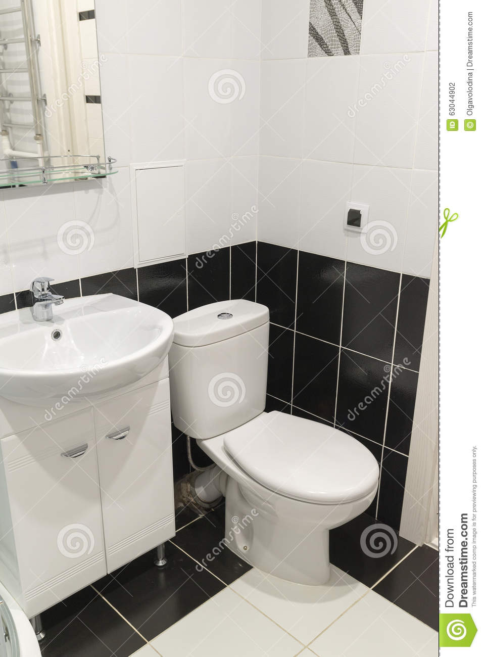 black and white toilet interior stock photo 49099272. Black Bedroom Furniture Sets. Home Design Ideas