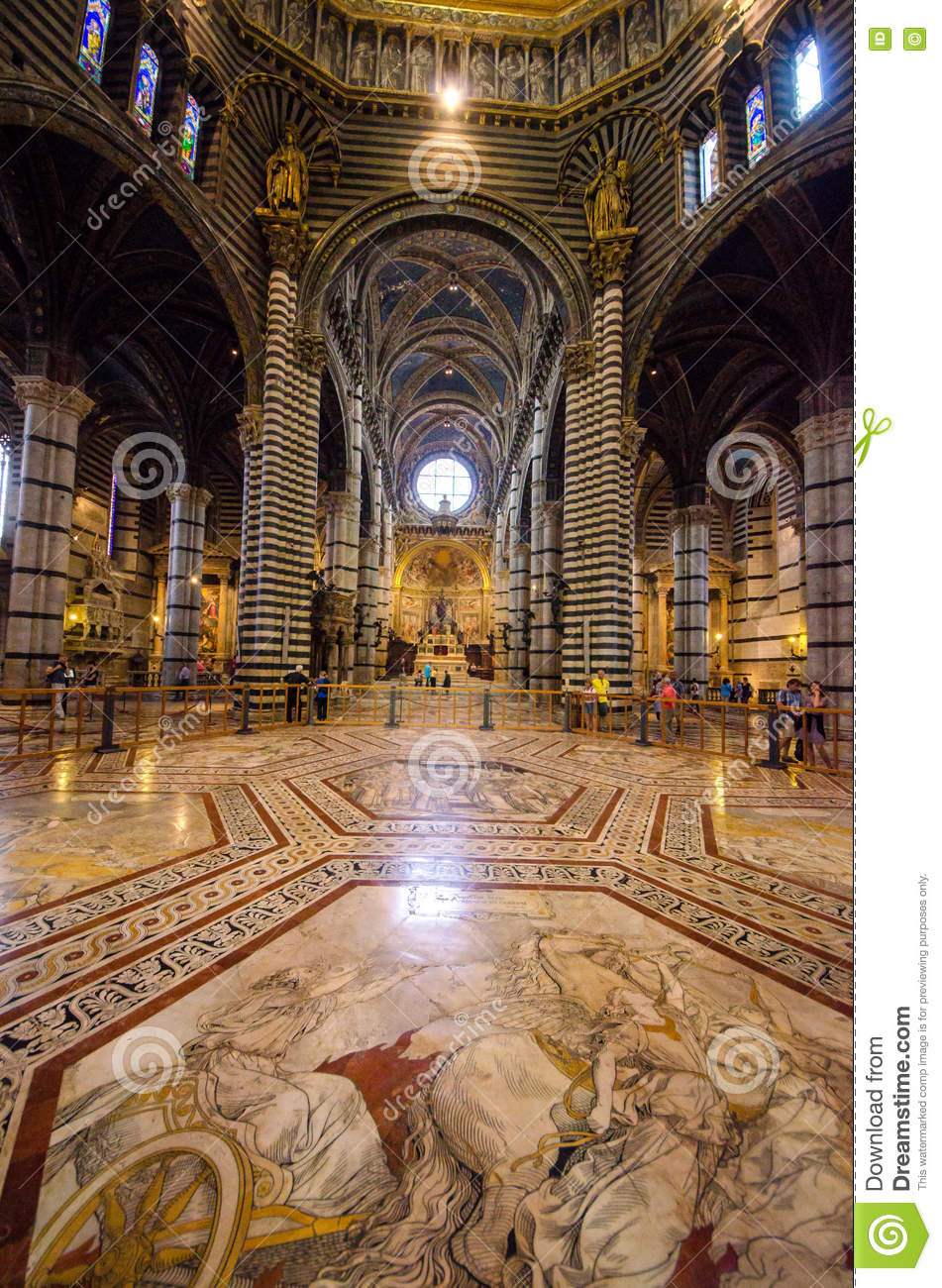 Interior of Siena Cathedral in Tuscany, Italy, August 2016