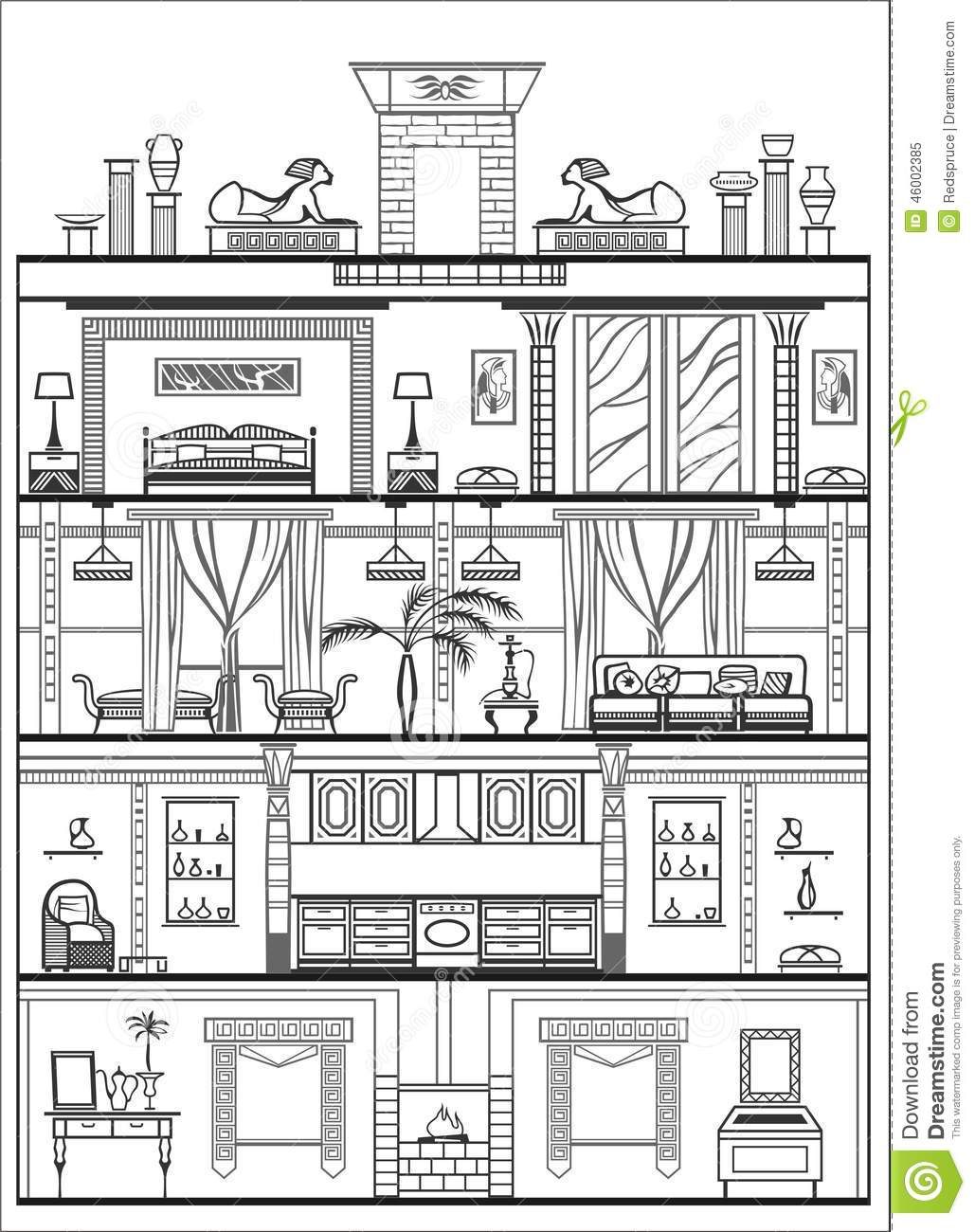 Inside House Drawing: Interior Silhouette. Vector Illustration Stock Vector