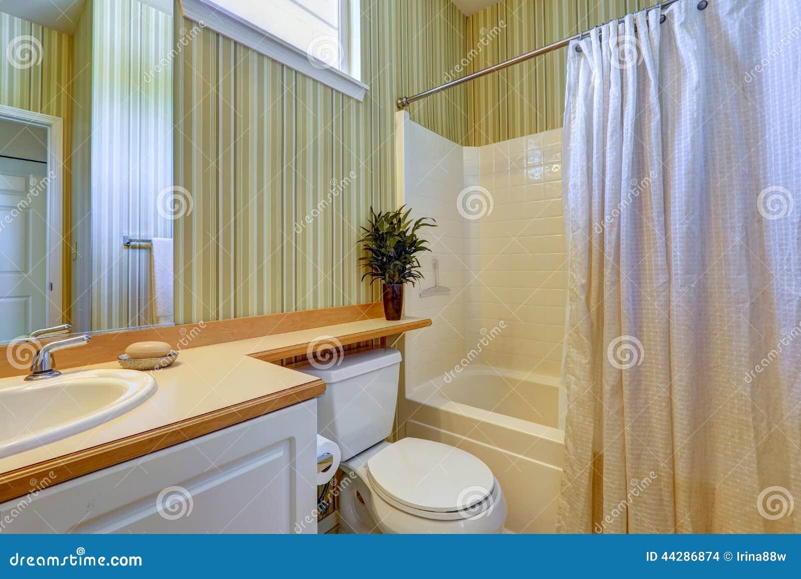 Interior Simples Do Banheiro Com Papel De Parede Verde Foto de Stock  #734616 1300 957