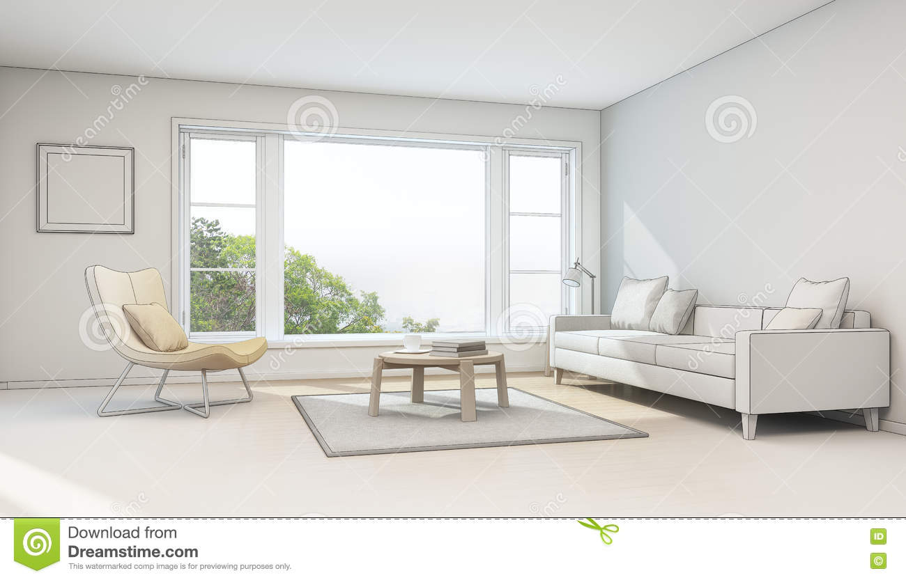 Interior sketch design living room in modern house stock for Amenagement interieur d une maison