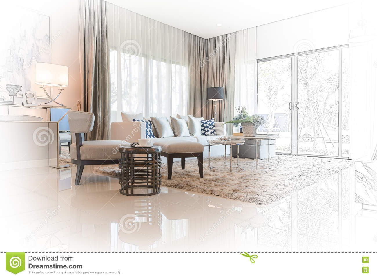Sketch design of modern living room with modern chair and for Amenagement interieur d une maison