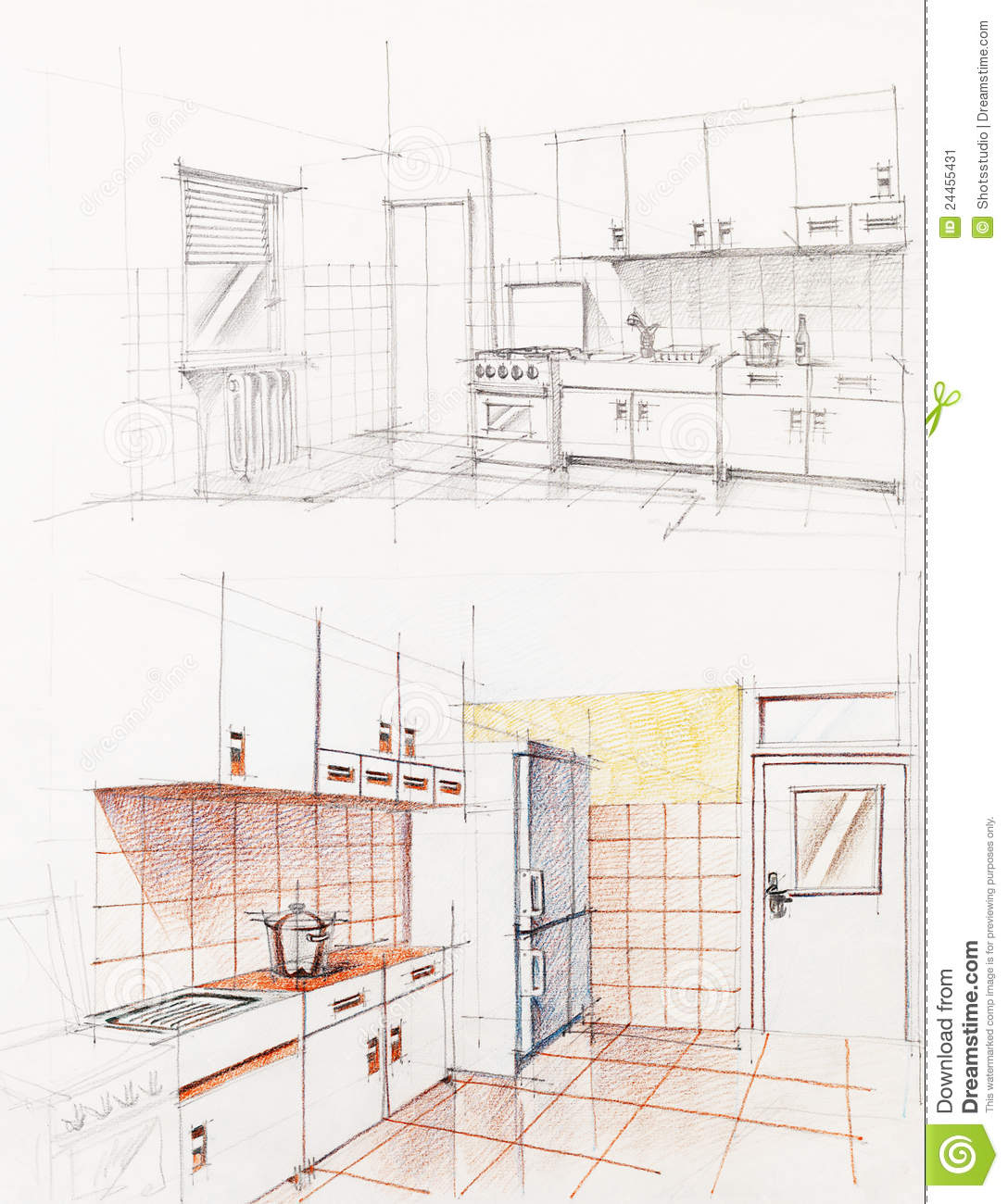 Interior Sketched Perspective Of Apartment Kitchen Stock