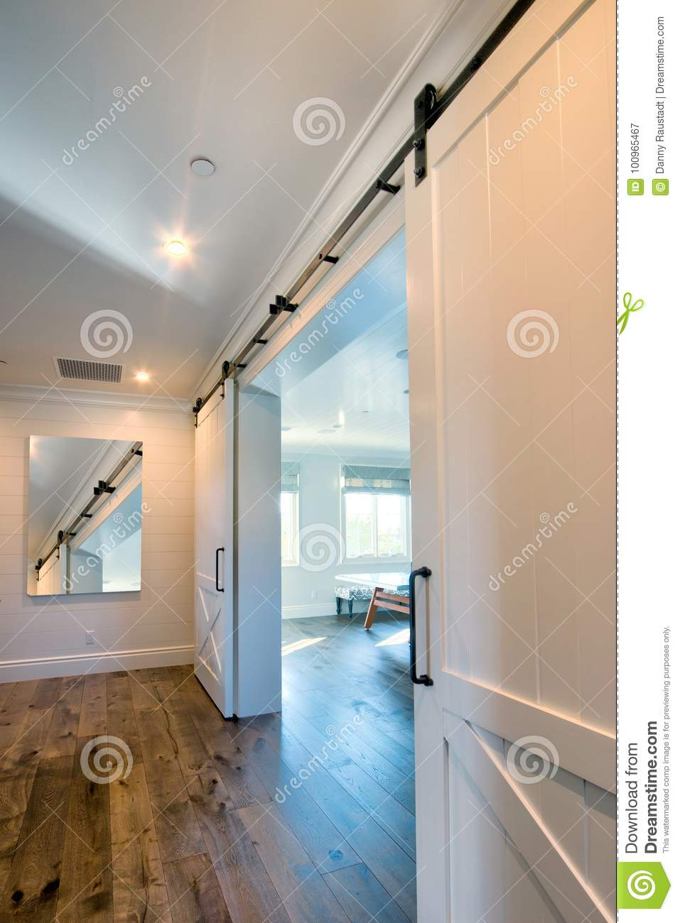 Interior Sliding Barn Doors Into Bathroom Stock Image