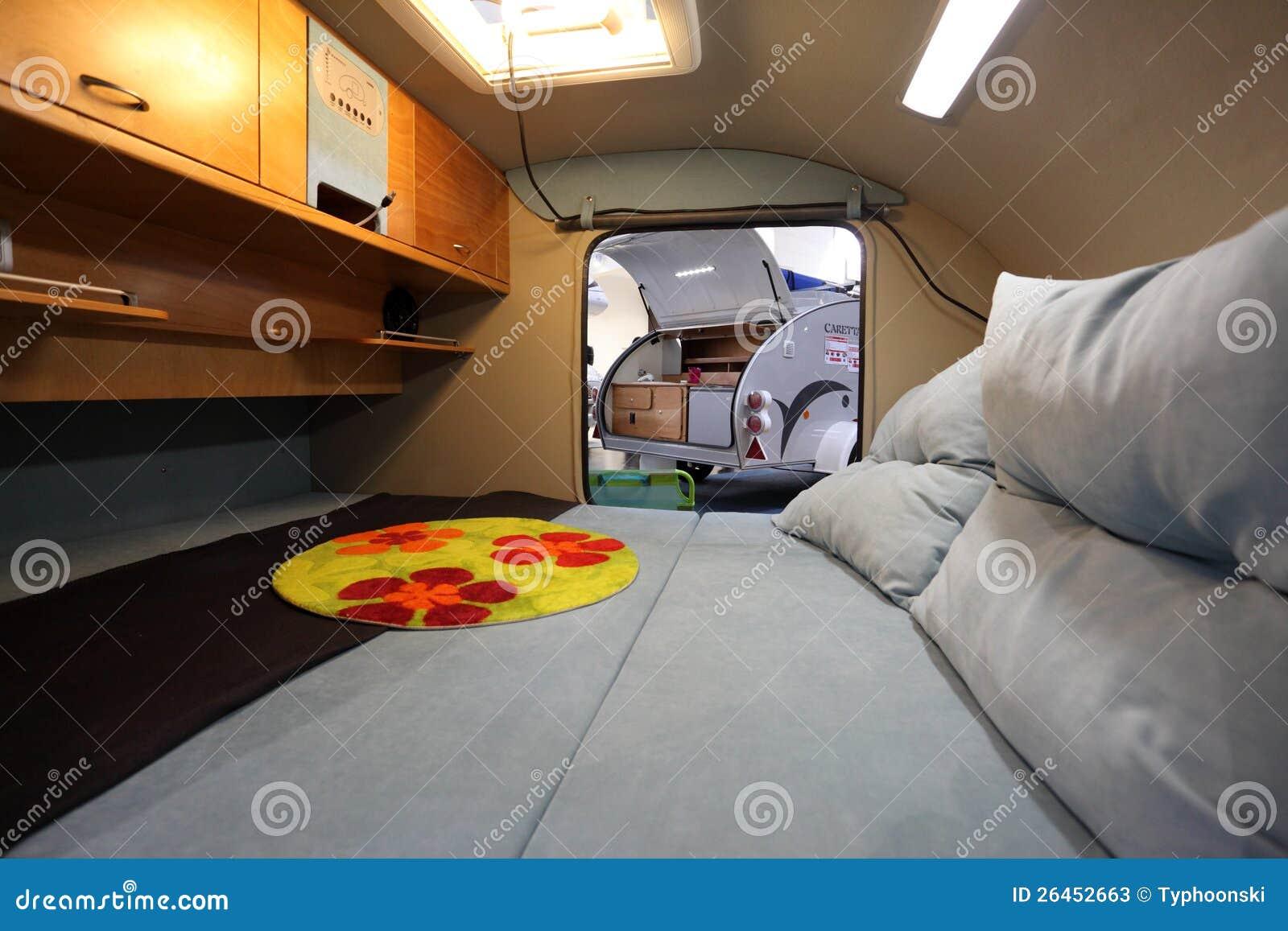 Interior of a small caravan editorial stock photo image for Small caravan interior designs