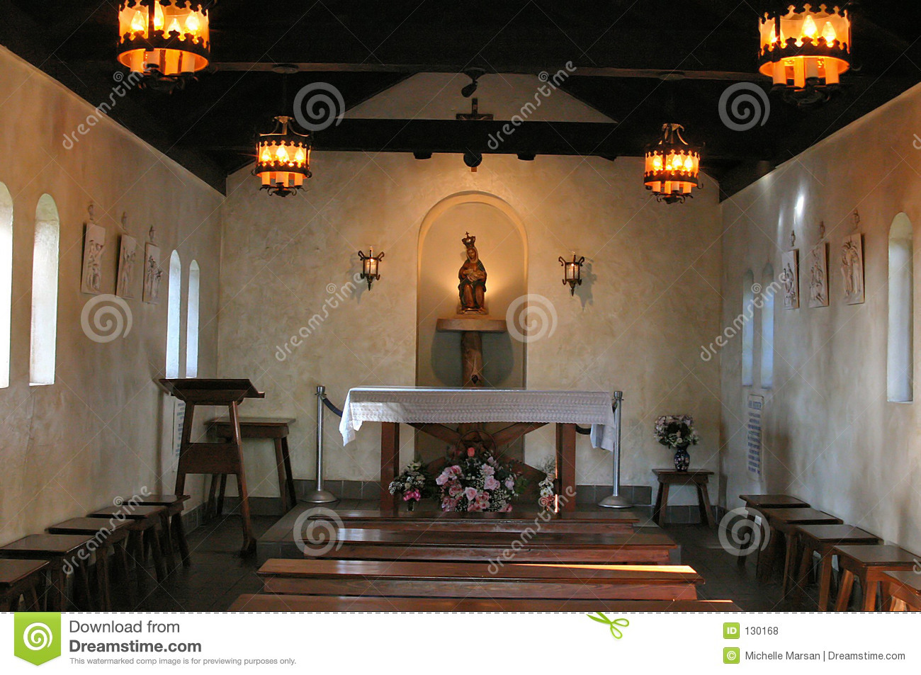 Interior Of Small Chapel Stock Photo Image Of Benches