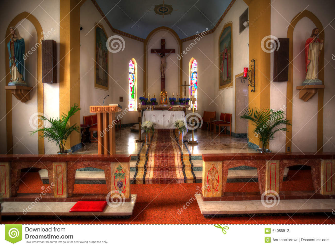 Interior Of A Small Church Stock Photo Image Of Indoor 64086912