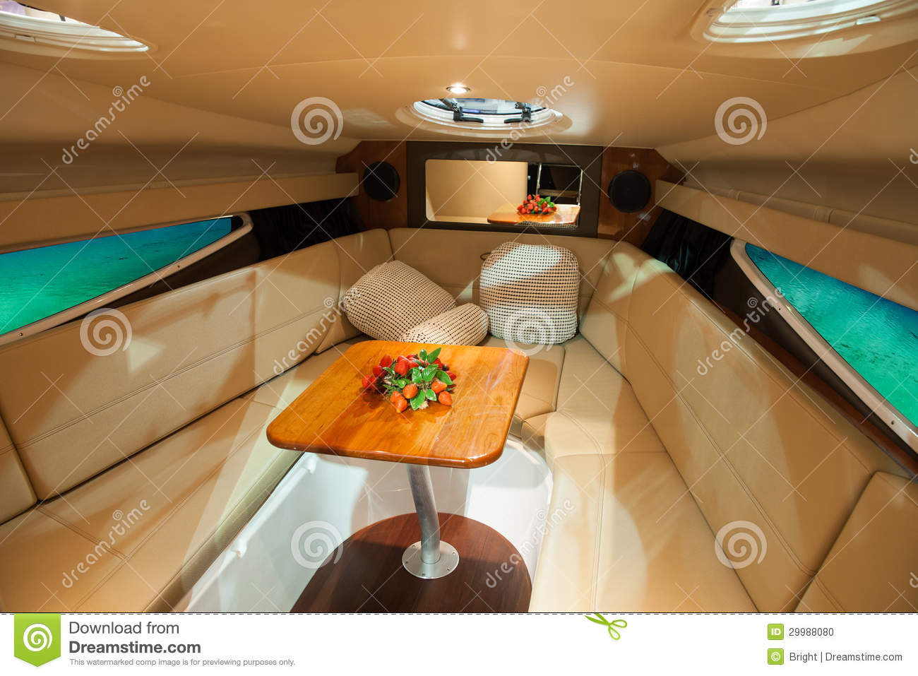 boat interior stock photo image of leather cabin couch. Black Bedroom Furniture Sets. Home Design Ideas