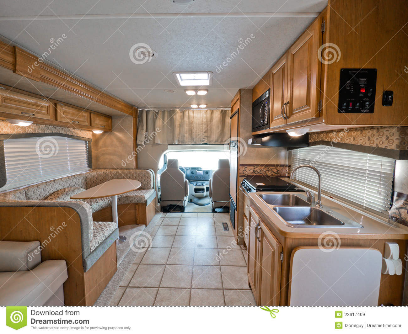 Interior of small rv stock image image of recreational for Interior motorhome designs