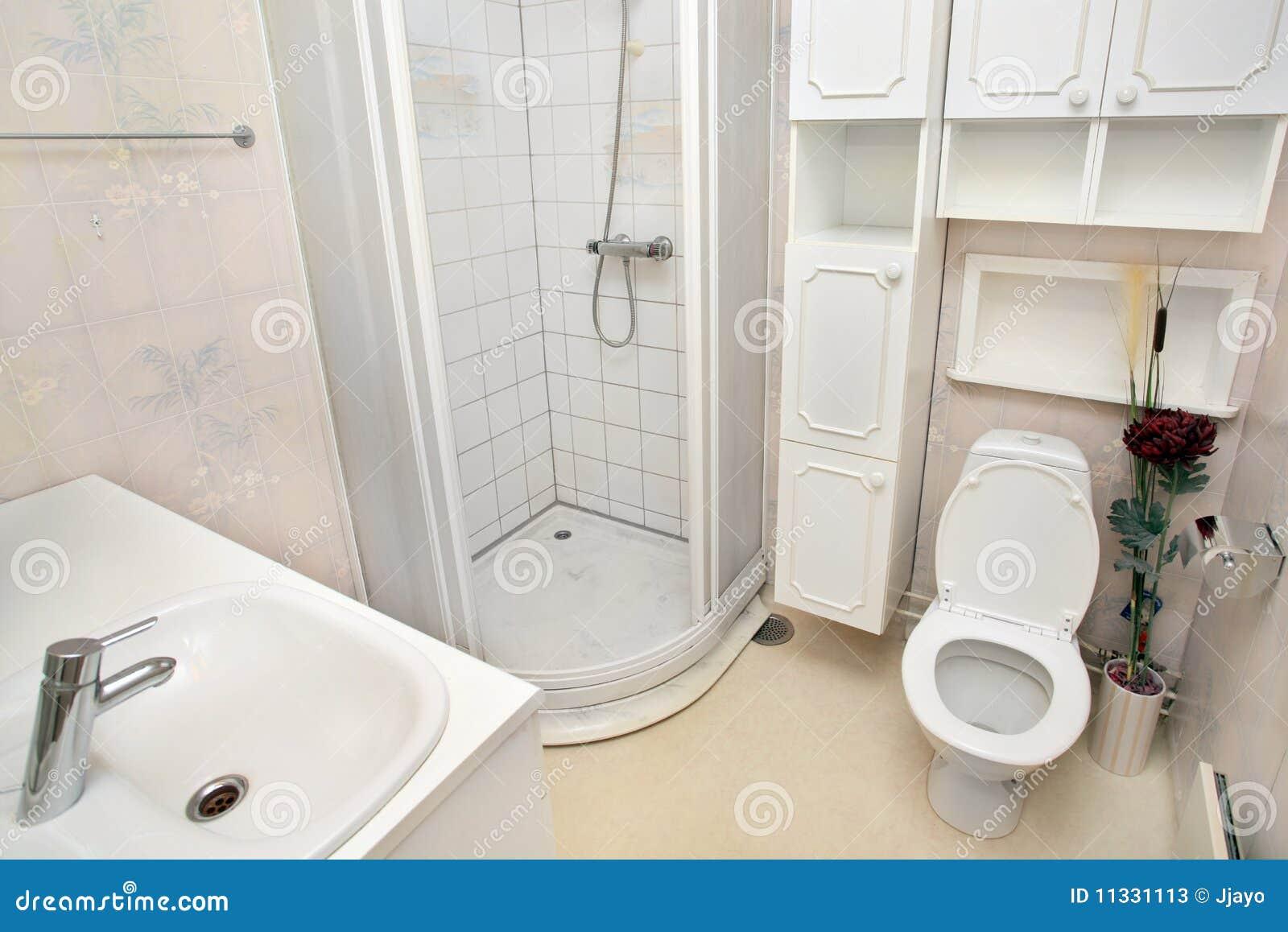 Interior of small white bathroom stock photos image for Small bathroom interior