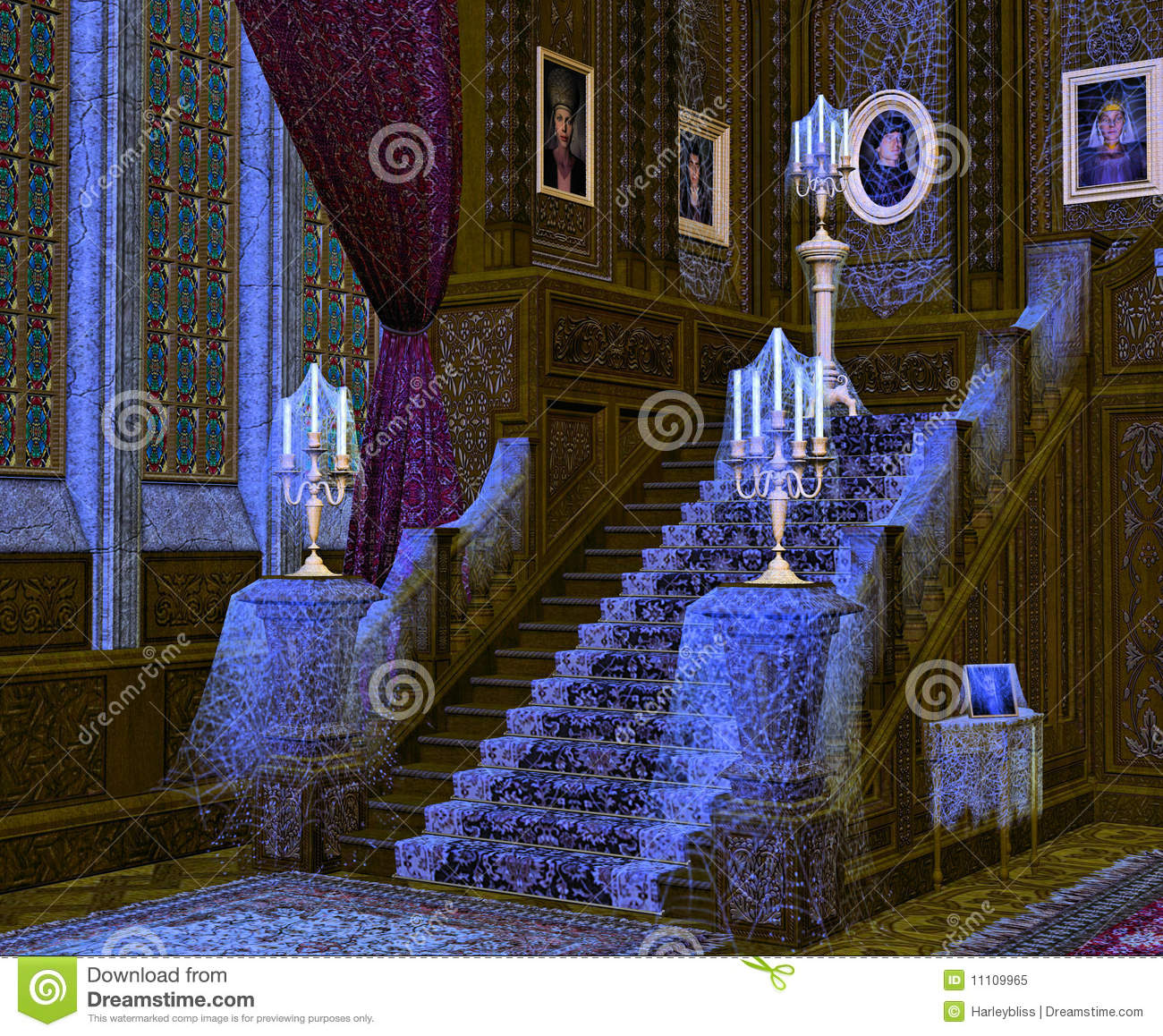 Interior Of Spooky Mansion Royalty Free Stock Photo