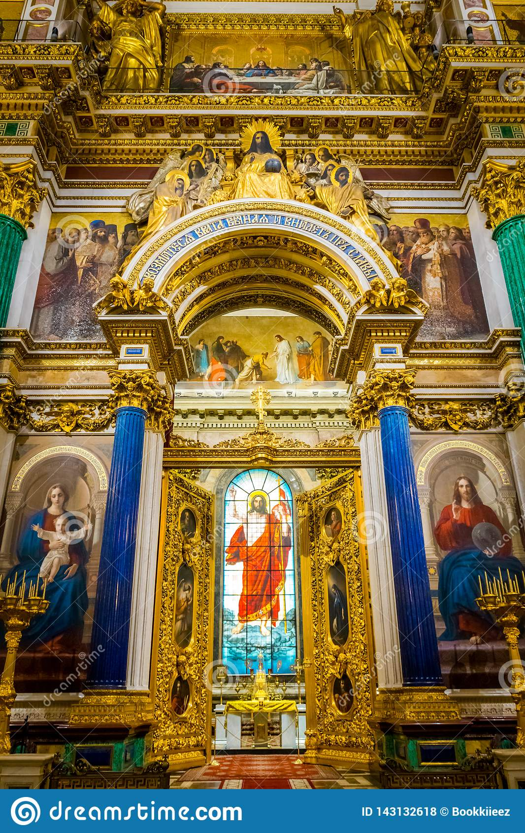Interior of St. Isaac`s Cathedral in Saint Petersburg, Russia.