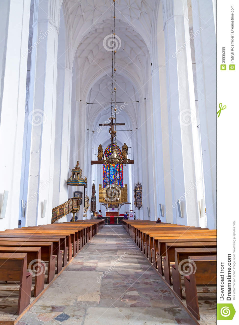 Interior Of St Mary S Basilica In Gdansk Royalty Free