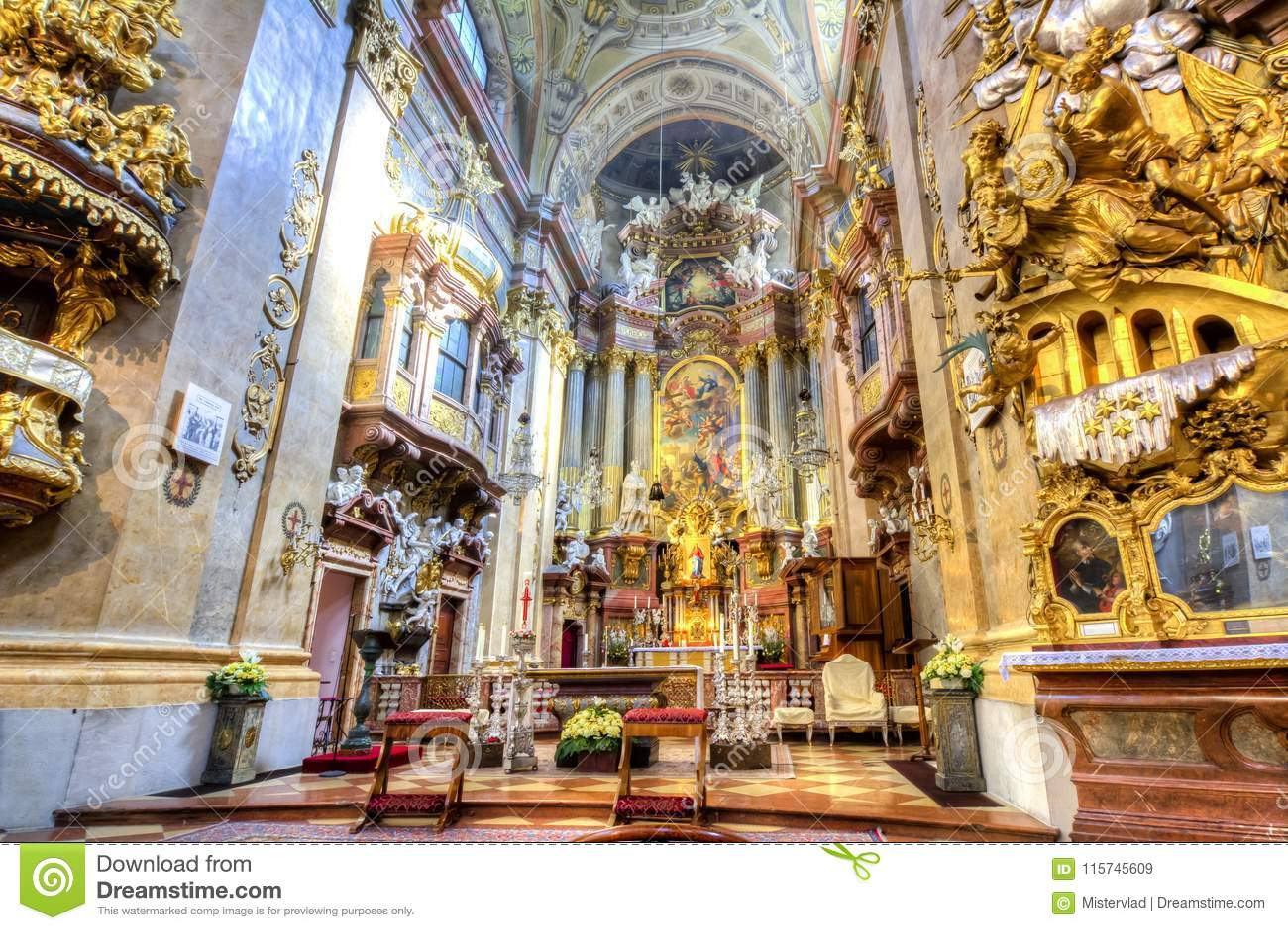 Interior Of St Peter Church Peterskirche In Vienna Austria Stock