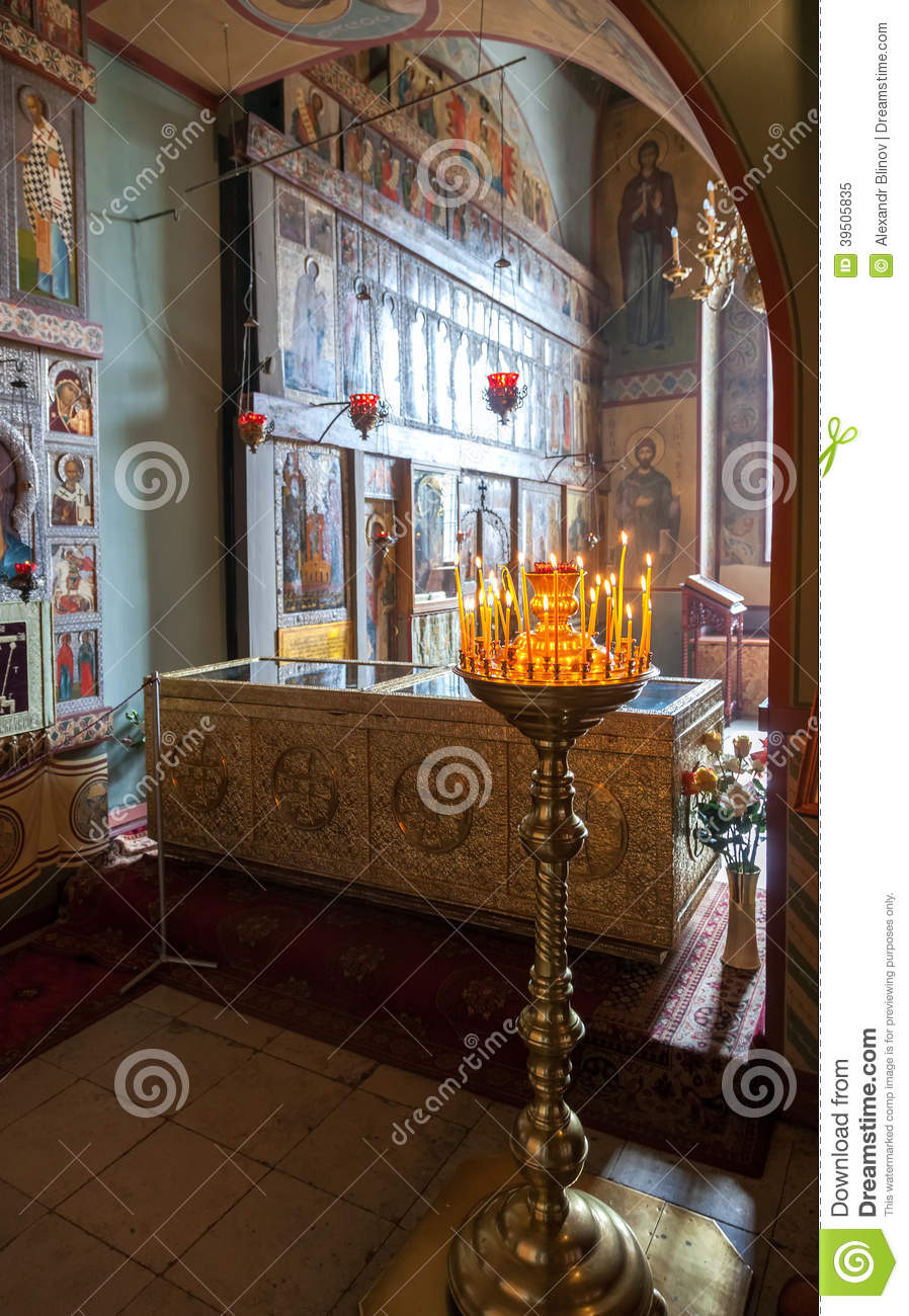 Interior of the St. Sophia Cathedral in Veliky Novgorod, Russia