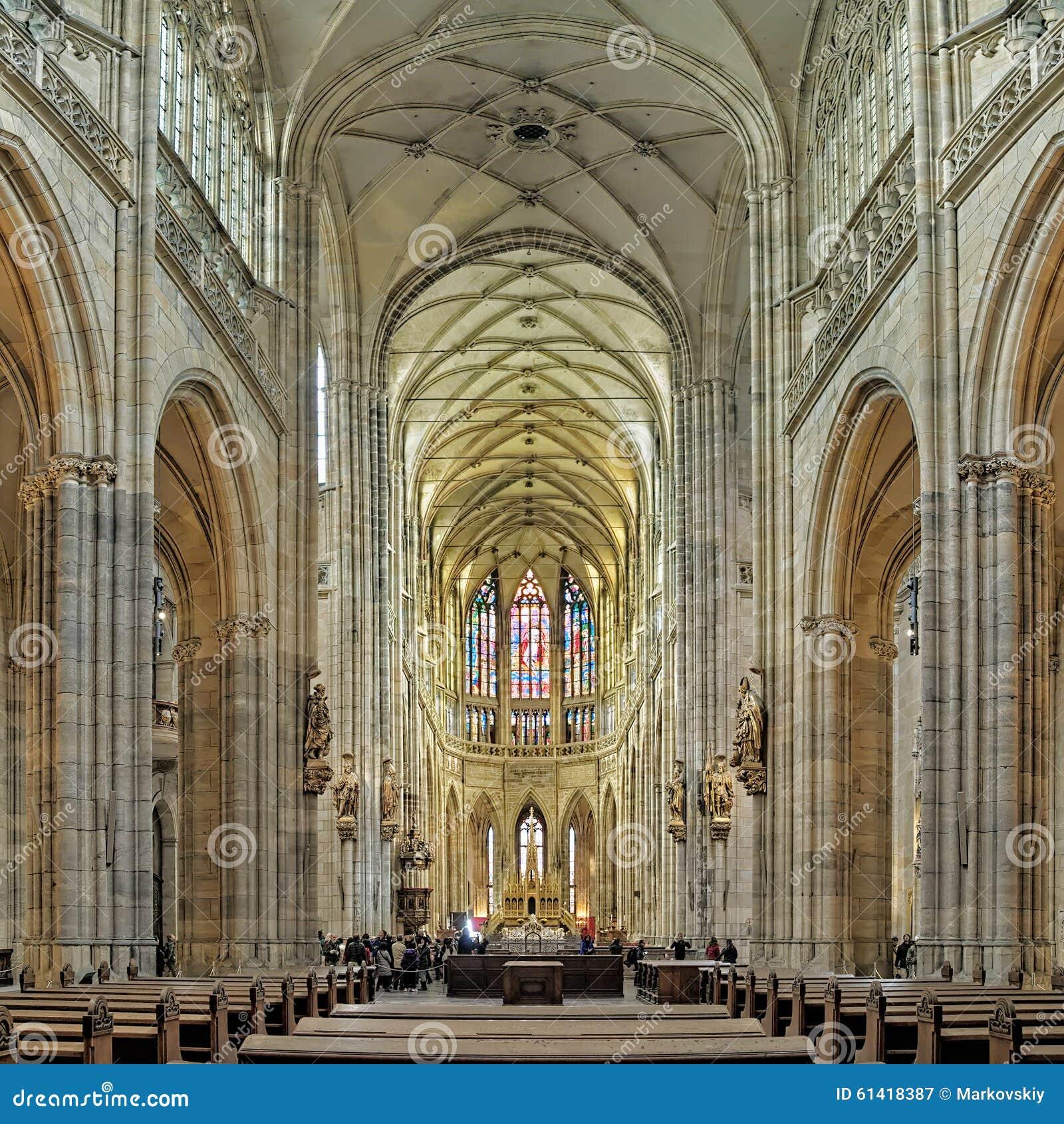 Interior Of St Vitus Cathedral In Prague Czech Republic