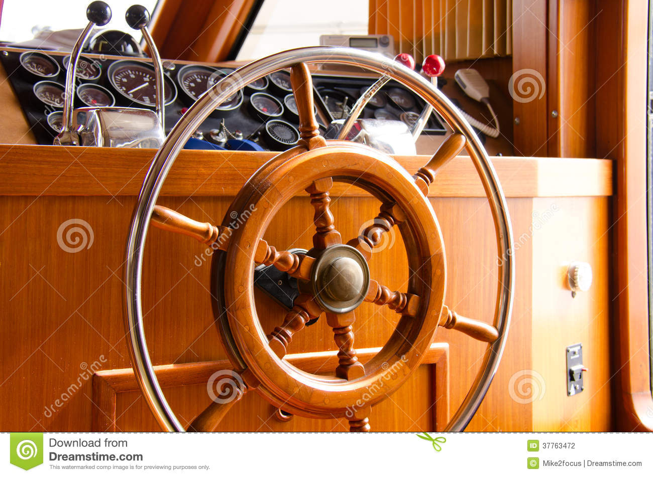 Interior Steering Wheel Of Large Yacht Boat Stock Photography - Image: 37763472