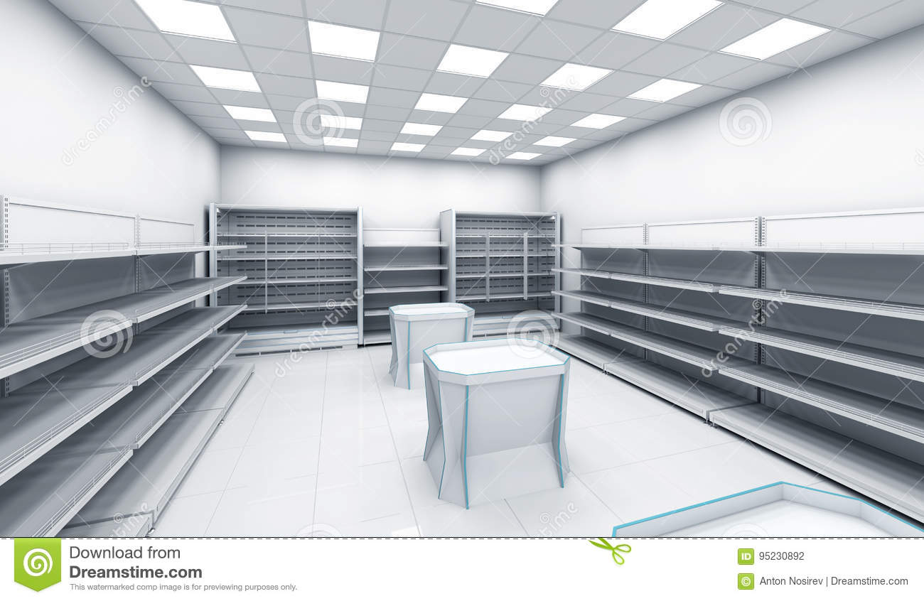 Interior Of The Store With Empty Shelves Stock Illustration