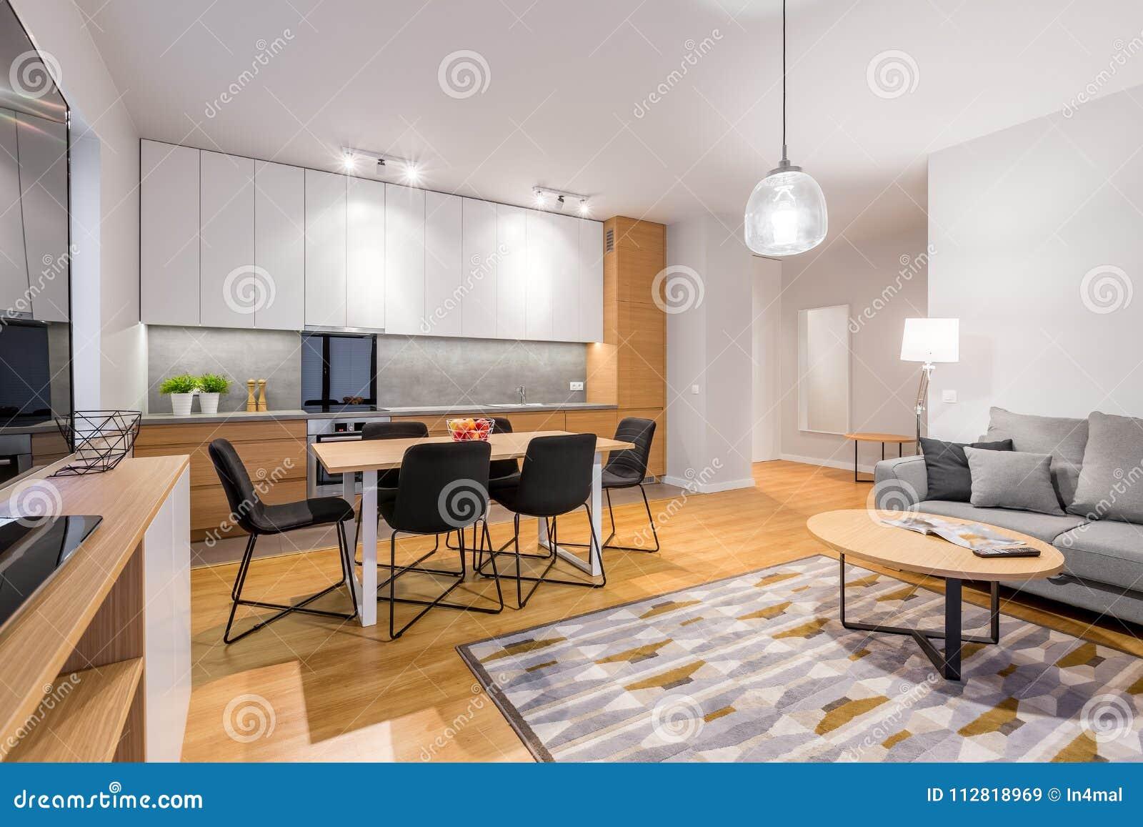 Interior Of Studio Apartment Stock Image - Image of flat ...