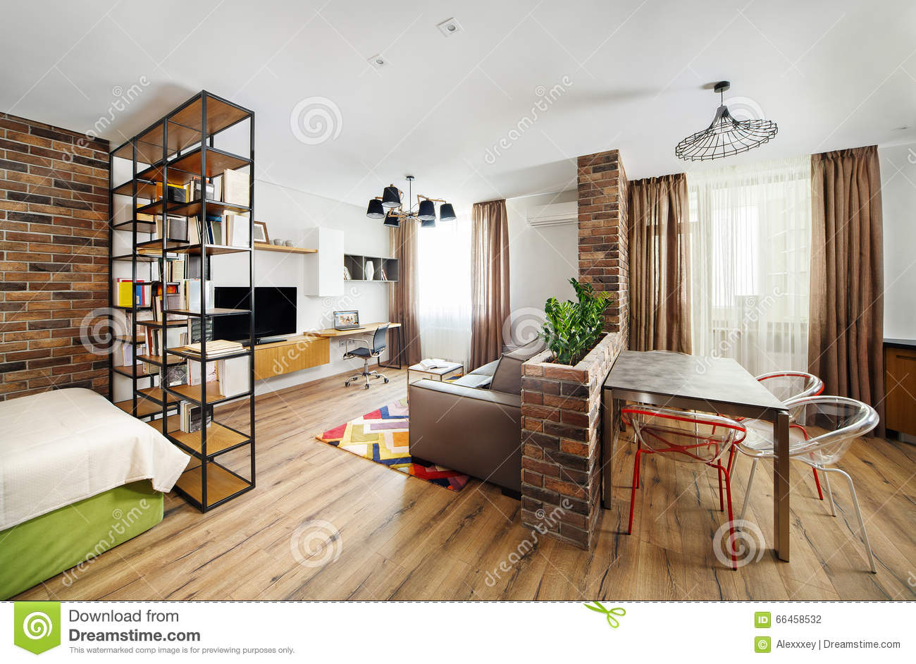 Apartments With Hardwood Floors apartment designs shown with rendered 3d floor plans Interior Studio Apartments With Bookshelves And Hardwood Floors