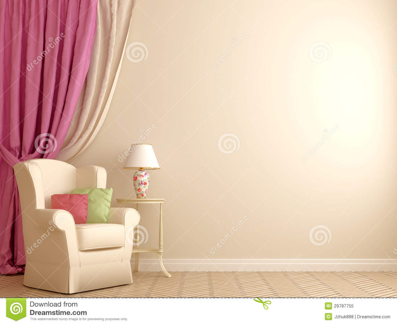 Armchair By The Pink Curtains Royalty Free Stock Photo Image 29787755