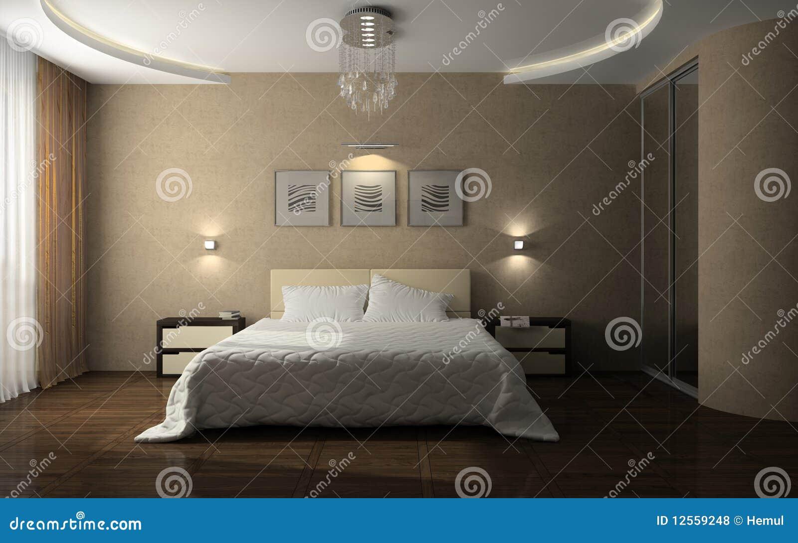 Interior Of The Stylish Bedroom Royalty Free Stock Photos