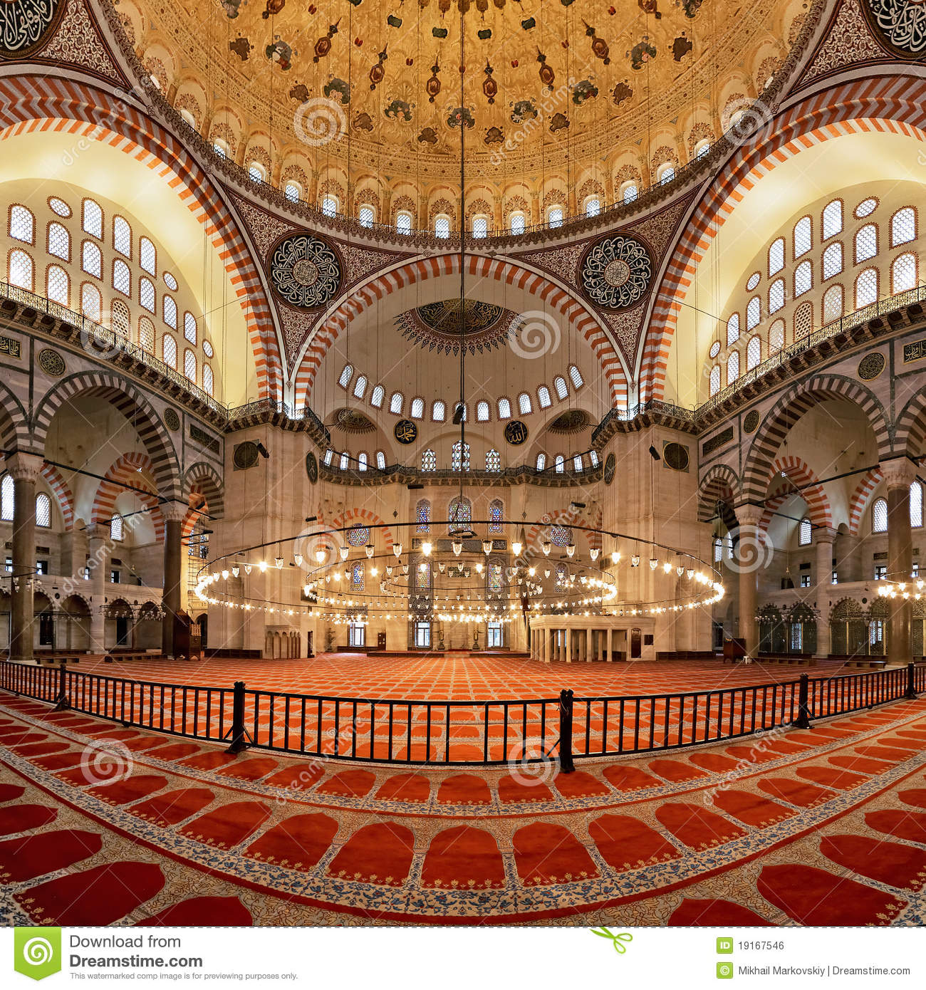 Interior Of The Suleymaniye Mosque In Istanbul Royalty