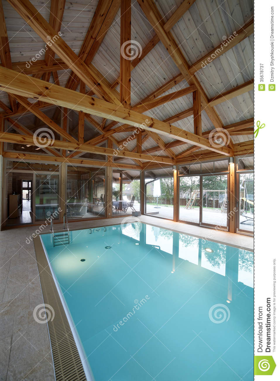 Interior Of Swimming Pool Inside Of House Stock Image