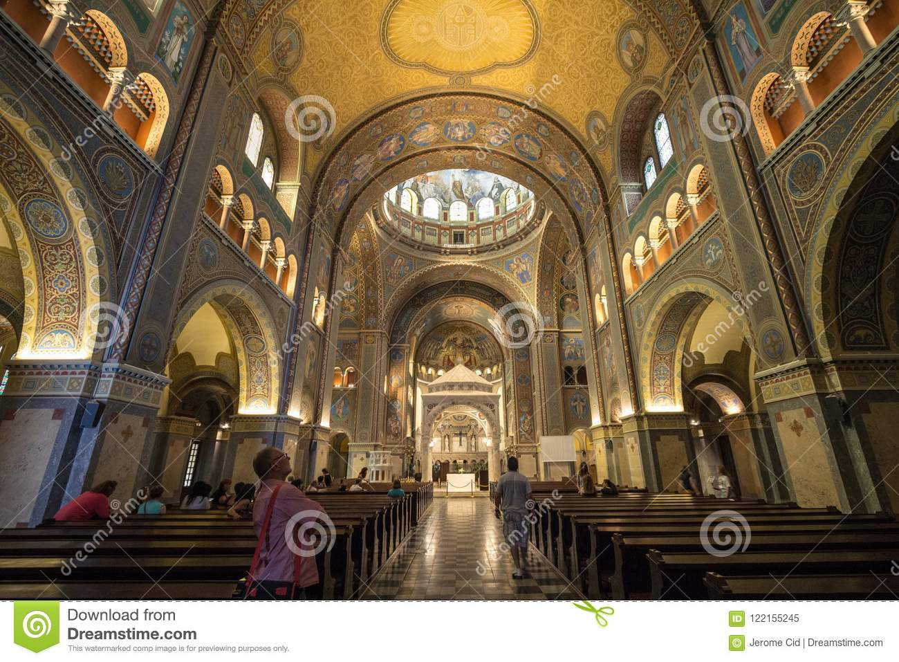 Interior of Szeged cathedral, with the frescoes, altar and transept. This cathedral Szegedi Dom is one of the symbols of Szeged