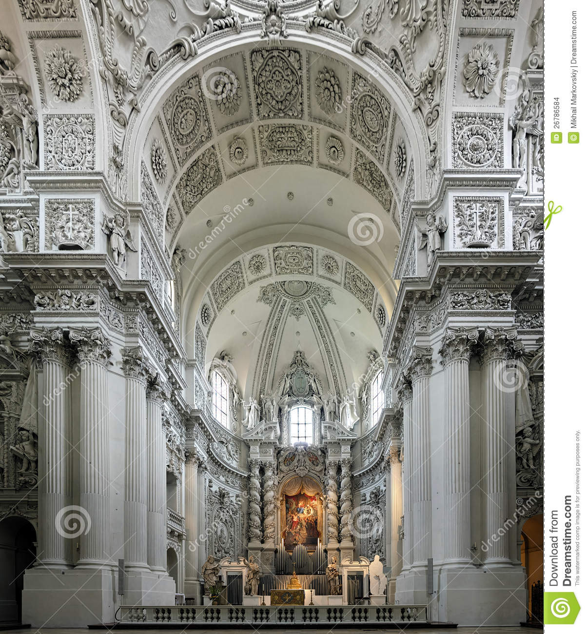 Interior Of The Theatine Church In Munich Germany Stock
